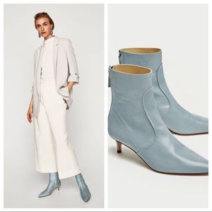 ZARA Mid-Heel Genuine Leather Ankle Boots